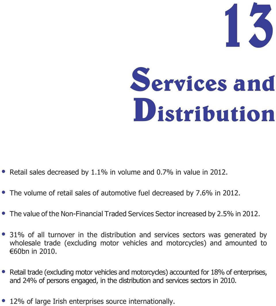 31% of all turnover in the distribution and services sectors was generated by wholesale trade (excluding motor vehicles and motorcycles) and amounted to 60bn
