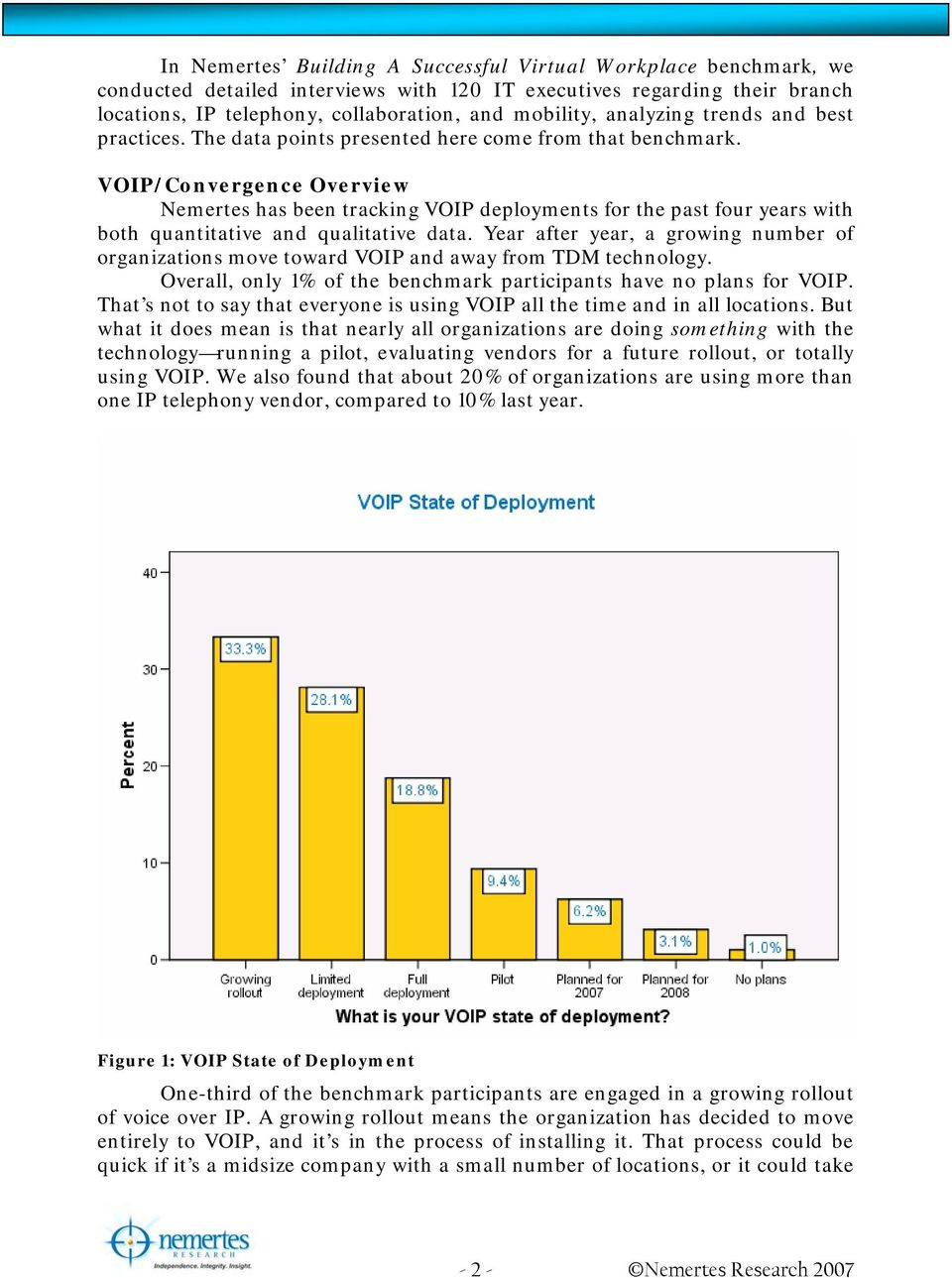 VOIP/Convergence Overview Nemertes has been tracking VOIP deployments for the past four years with both quantitative and qualitative data.