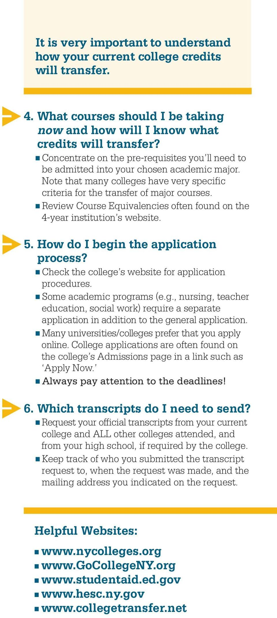 Review Course Equivalencies often found on the 4-year institution s website. 5. How do I begin the application process? Check the college s website for application procedures.