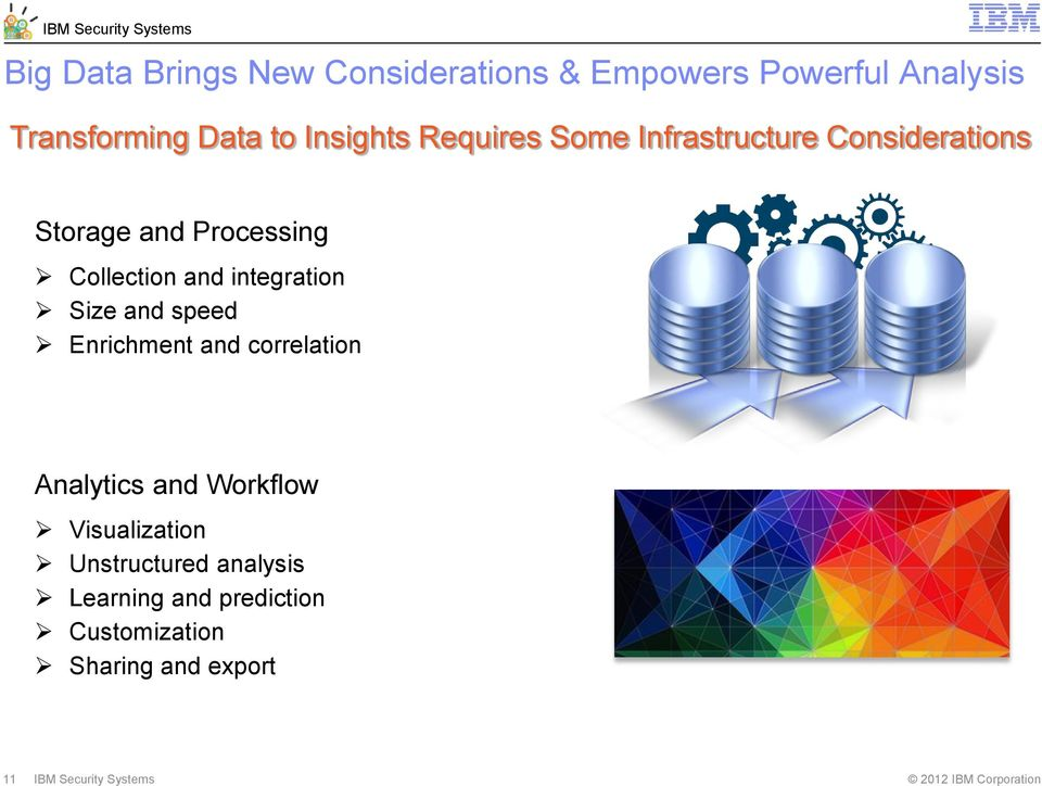 integration Size and speed Enrichment and correlation Analytics and Workflow Visualization