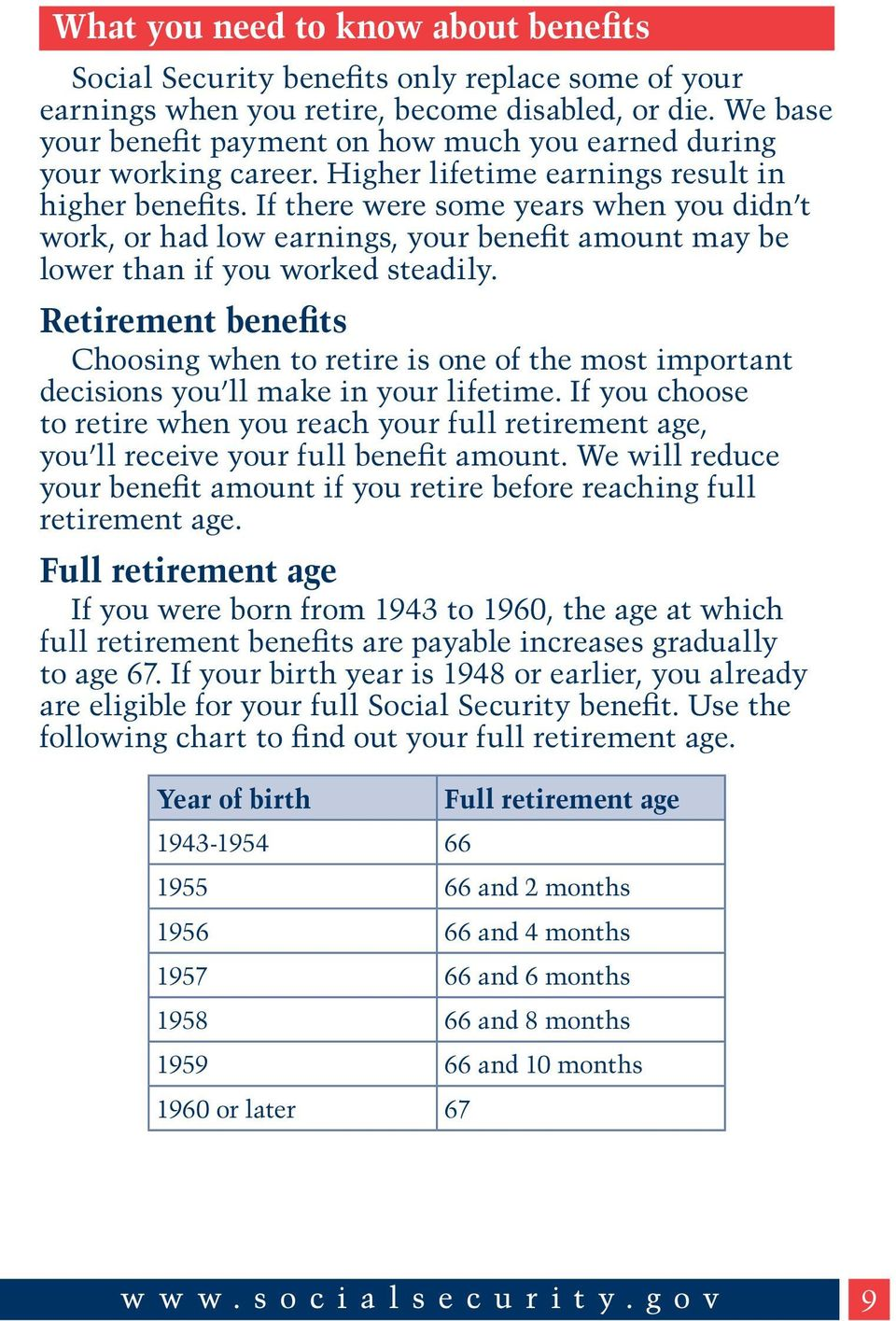 If there were some years when you didn t work, or had low earnings, your benefit amount may be lower than if you worked steadily.