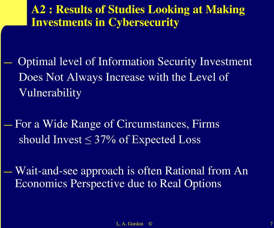 For a Wide Range of Circumstances, Firms should Invest 37% of Expected Loss Wait-and-see