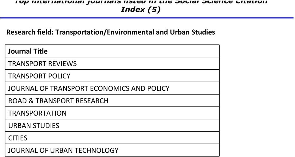 TRANSPORT ECONOMICS AND POLICY ROAD & TRANSPORT RESEARCH