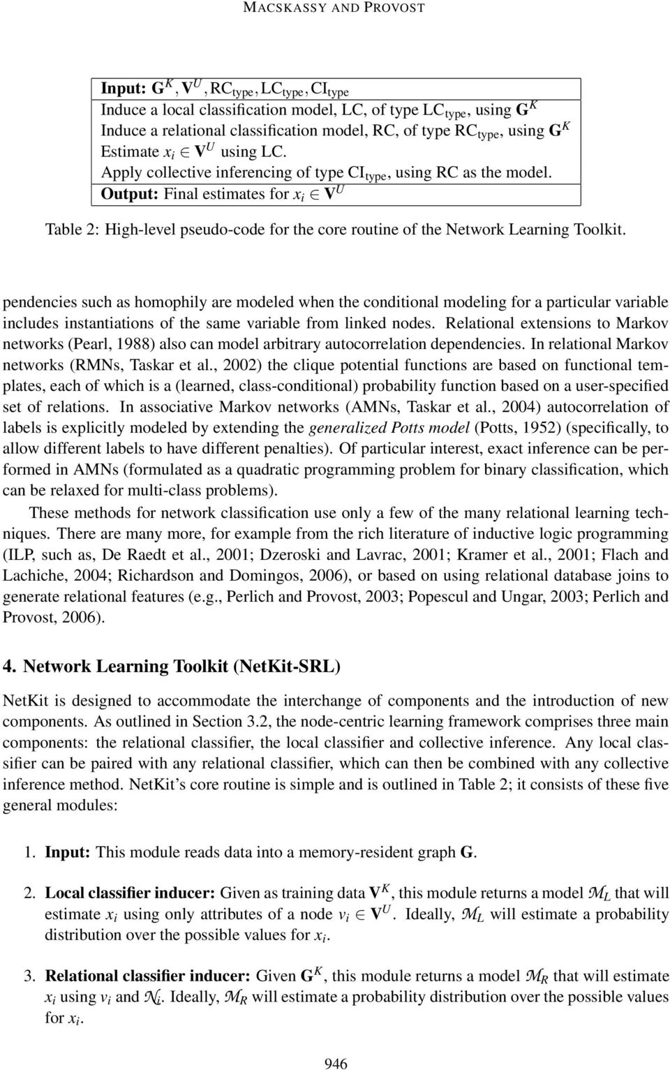 Output: Final estimates for x i V U Table 2: High-level pseudo-code for the core routine of the Network Learning Toolkit.