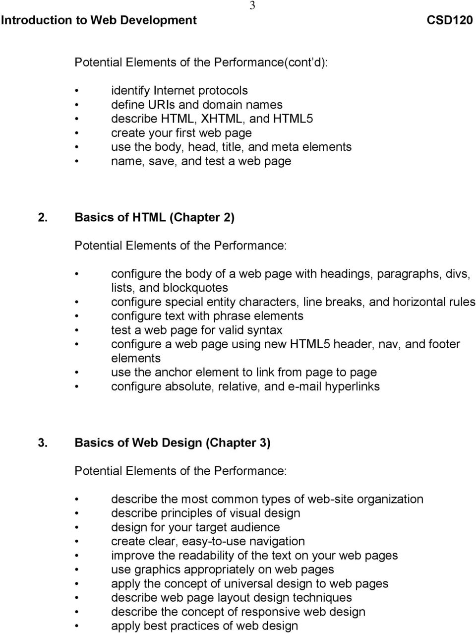 Basics of HTML (Chapter 2) configure the body of a web page with headings, paragraphs, divs, lists, and blockquotes configure special entity characters, line breaks, and horizontal rules configure
