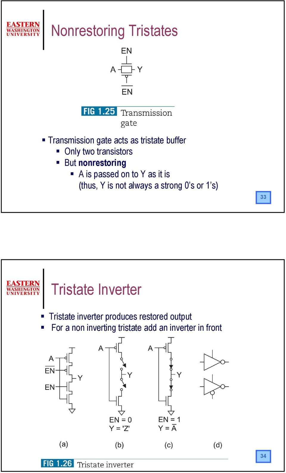 is not always a strong s or s) 33 Tristate Inverter Tristate inverter