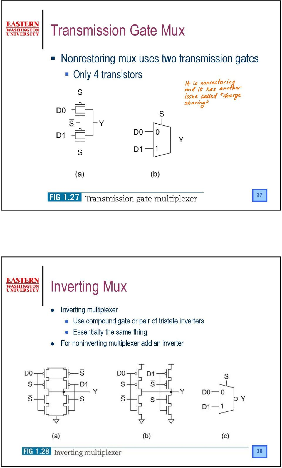multiplexer Use compound gate or pair of tristate inverters