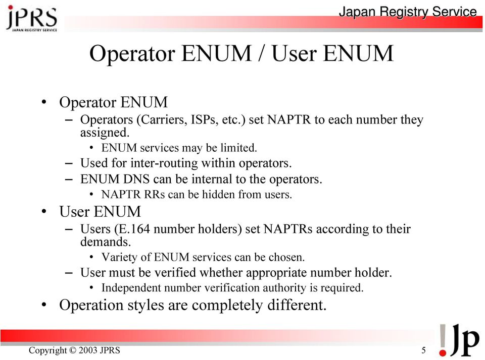 NAPTR RRs can be hidden from users. User ENUM Users (E.164 number holders) set NAPTRs according to their demands.