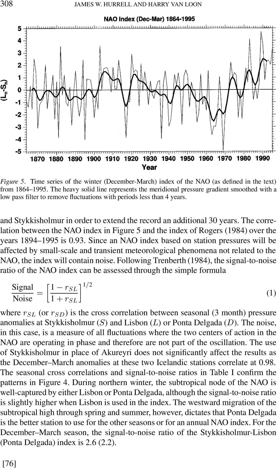 and Stykkisholmur in order to extend the record an additional 30 years. The correlation between the NAO index in Figure 5 and the index of Rogers (1984) over the years 1894 1995 is 0.93.