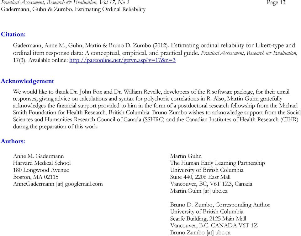 Available online: http://pareonline.net/getvn.asp?v=17&n=3 Acknowledgement We would like to thank Dr. John Fox and Dr.