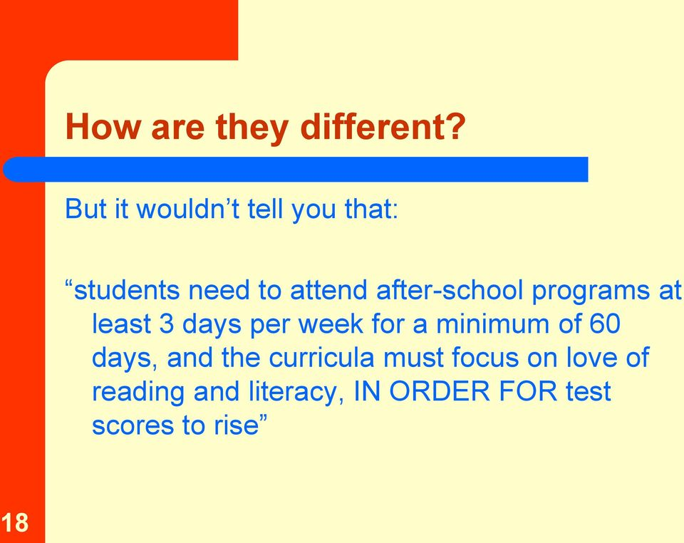 after-school programs at least 3 days per week for a minimum