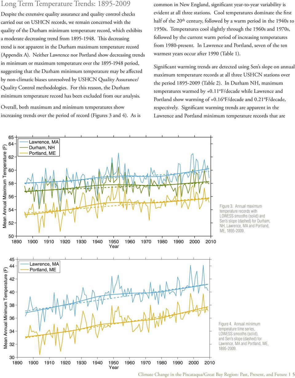 Neither Lawrence nor Portland show decreasing trends in minimum or maximum temperature over the 1895-1948 period, suggesting that the Durham minimum temperature may be affected by non-climatic biases