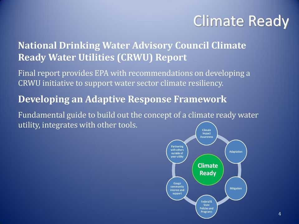 support water sector climate resiliency.