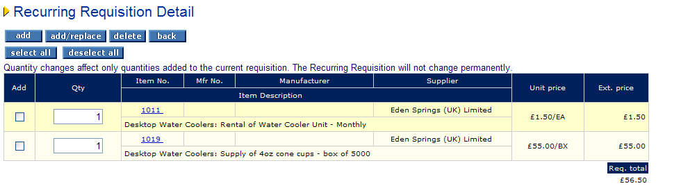 Using a Recurring Requisition a) Click on Recurring Requisition from the Application Toolbar.