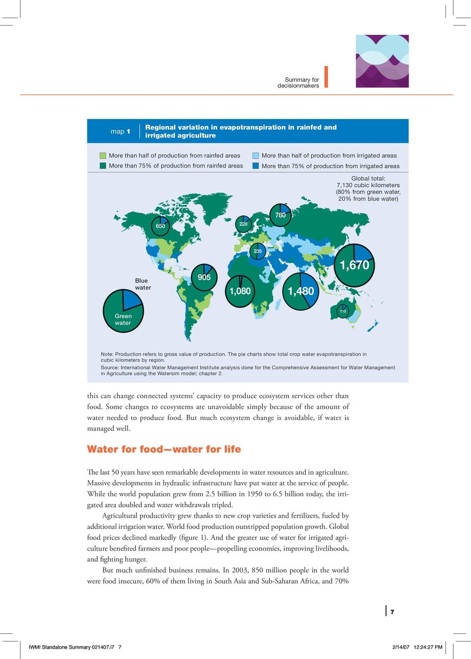 Blue water 905 235 1,080 1,480 1,670 Green water 110 Note: Production refers to gross value of production. The pie charts show total crop water evapotranspiration in cubic kilometers by region.