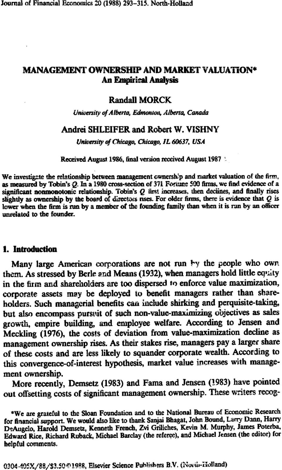 VISHNY University of Chicago, Chicago, IL 60637, USA Received August 1986, final version received August 1987 ~-