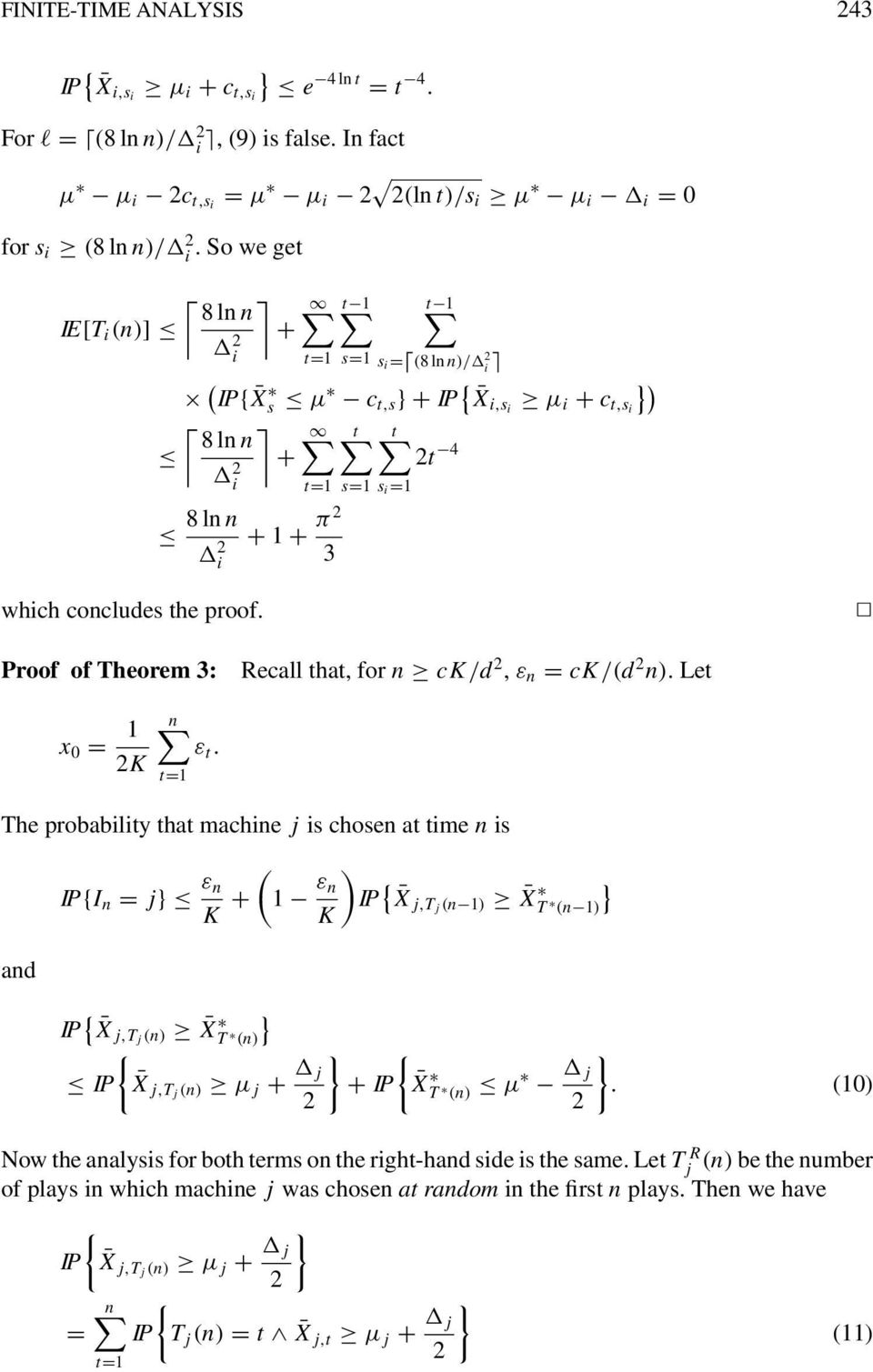 Proof of Theorem 3: Recall that, for n ck/d, ε n = ck/(d n). Let x 0 = 1 K ε t.