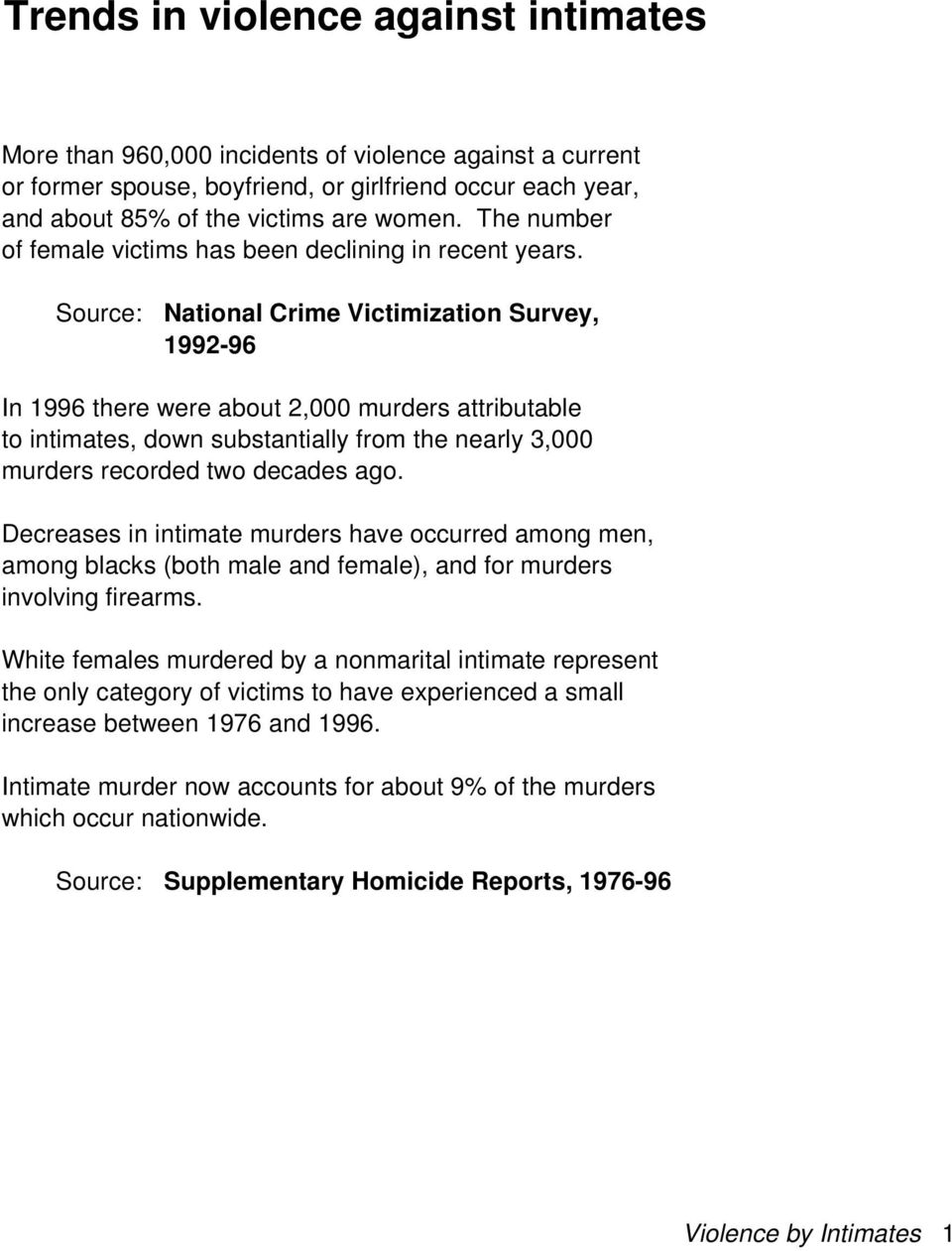 Source: National Crime Victimization Survey, 1992-96 In 1996 there were about 2,000 murders attributable to intimates, down substantially from the nearly 3,000 murders recorded two decades ago.