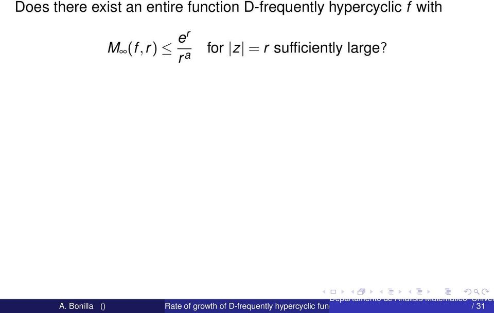 hypercyclic f with M (f,r)