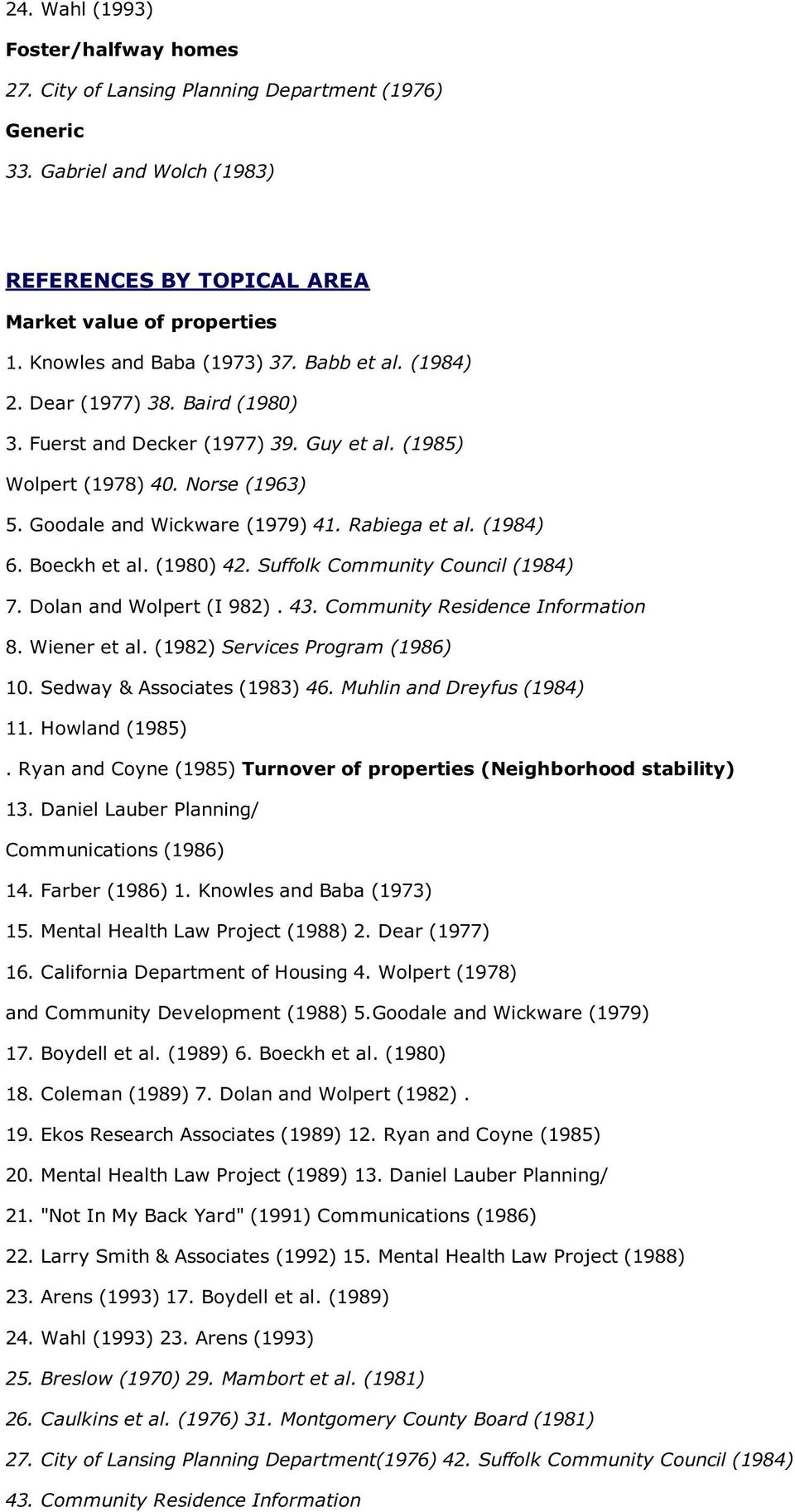 Rabiega et al. (1984) 6. Boeckh et al. (1980) 42. Suffolk Community Council (1984) 7. Dolan and Wolpert (I 982). 43. Community Residence Information 8. Wiener et al. (1982) Services Program (1986) 10.