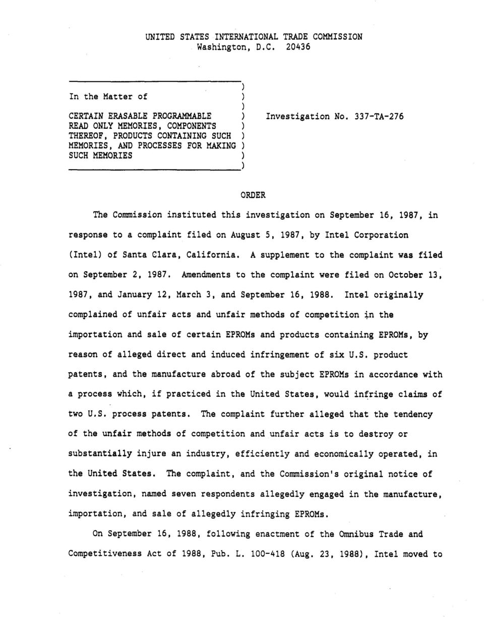 1987, in response to a complaint filed on August 5, 1987, by Intel Corporation (Intel) of Santa Clara, California. A supplement to the complaint was filed on September 2, 1987.