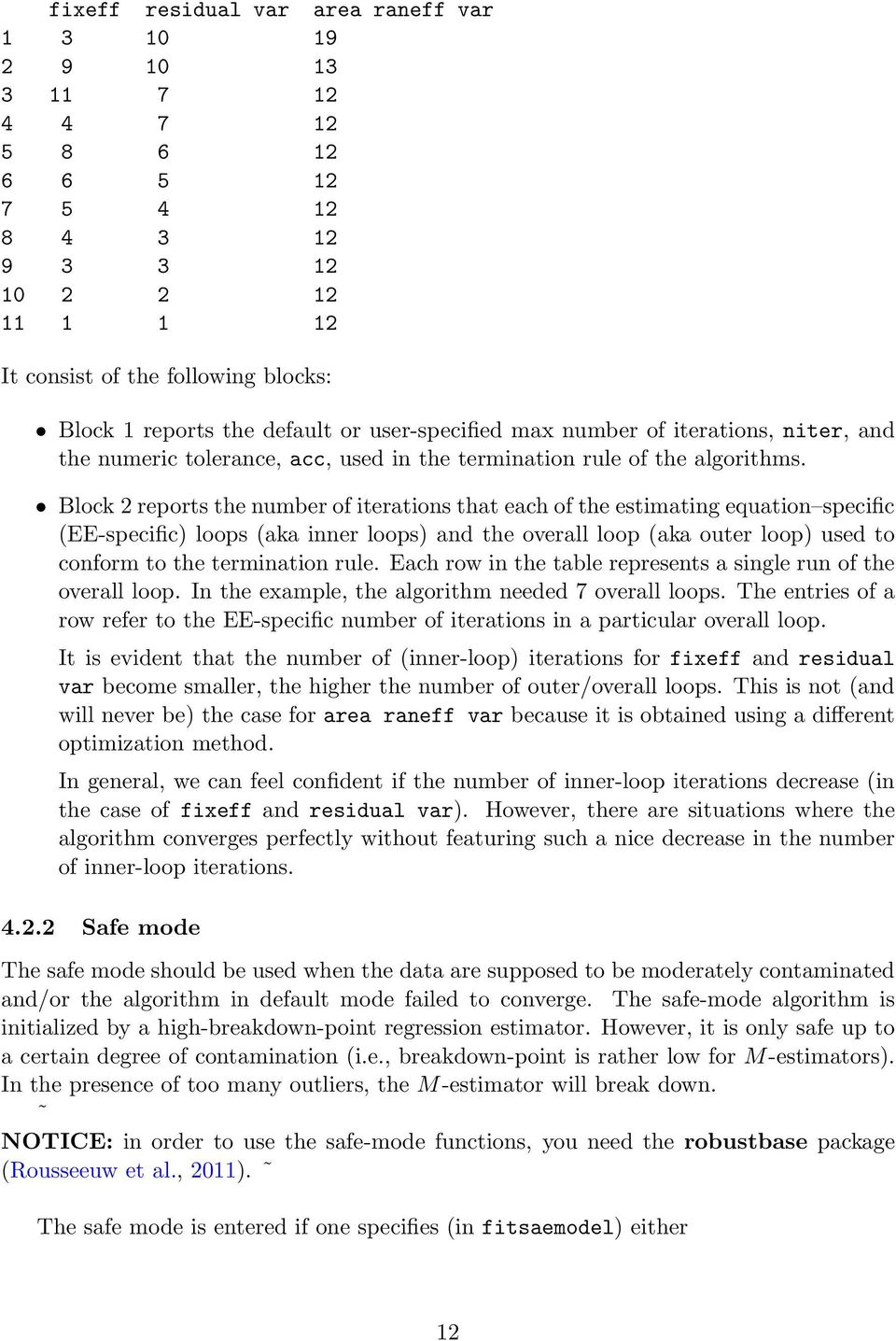 Block 2 reports the number of iterations that each of the estimating equation specific (EE-specific) loops (aka inner loops) and the overall loop (aka outer loop) used to conform to the termination