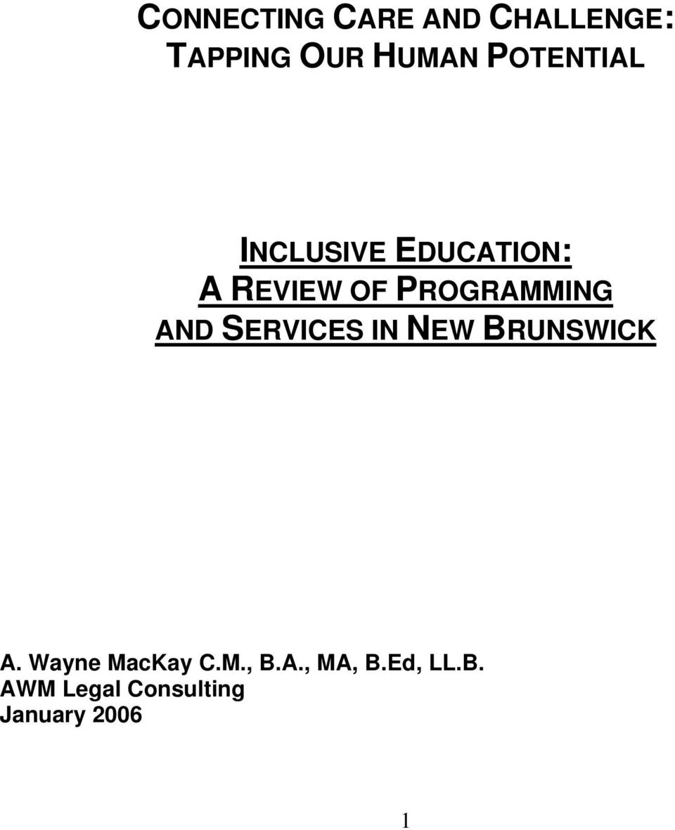 PROGRAMMING AND SERVICES IN NEW BRUNSWICK A.