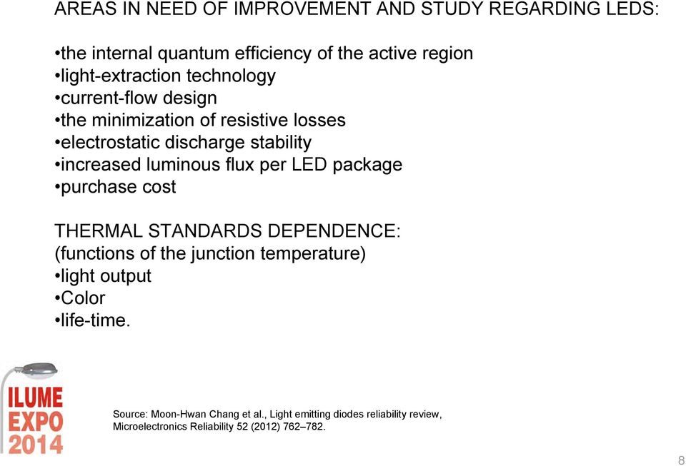 per LED package purchase cost THERMAL STANDARDS DEPENDENCE: (functions of the junction temperature) light output Color
