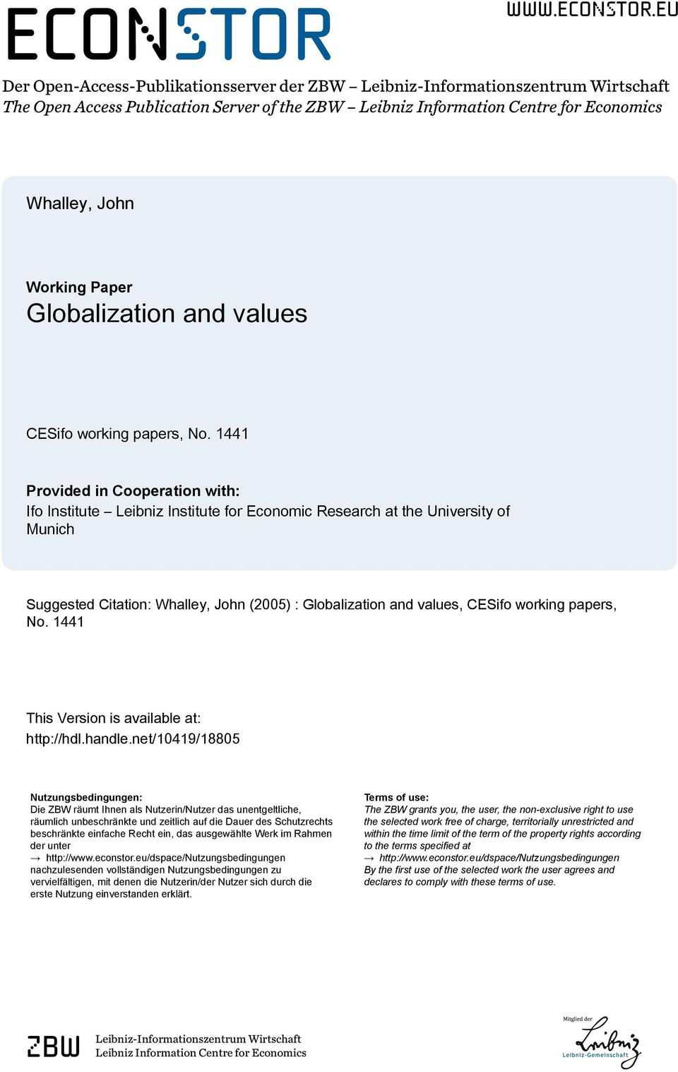 eu Der Open-Access-Publikationsserver der ZBW Leibniz-Informationszentrum Wirtschaft The Open Access Publication Server of the ZBW Leibniz Information Centre for Economics Whalley, John Working Paper