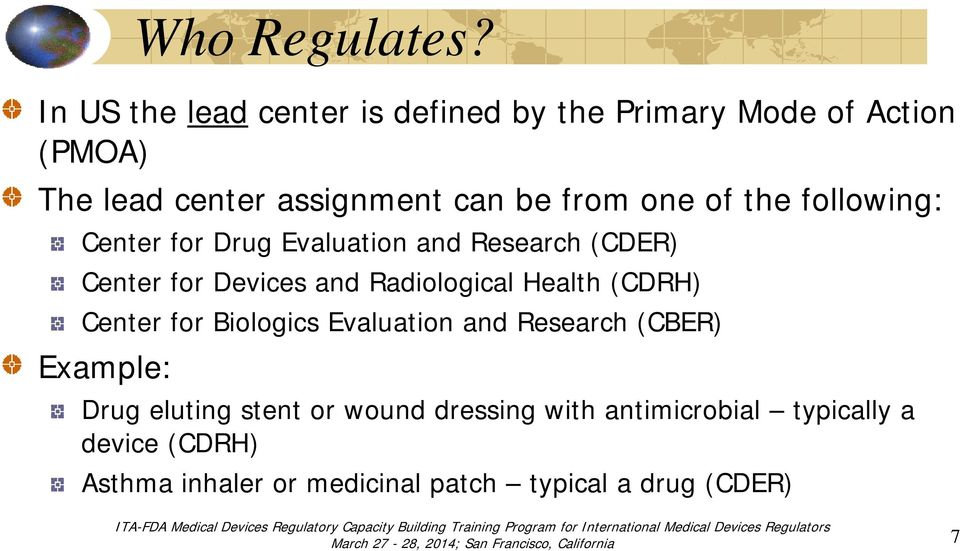 one of the following: Center for Drug Evaluation and Research (CDER) Center for Devices and Radiological