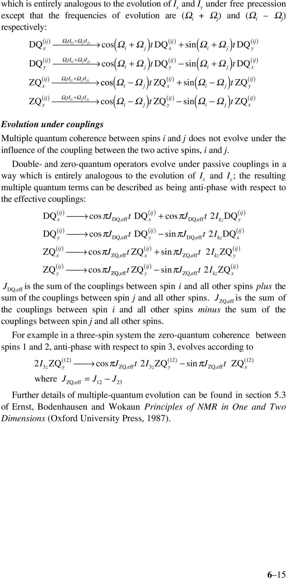 Ωjt j ( ij) ( ij) cos Ωi Ωj t sin Ωi Ωj t ( ) ( ) ZQ ZQ ZQ Evolution under couplings Multiple quantum coherence between spins i and j does not evolve under the influence of the coupling between the