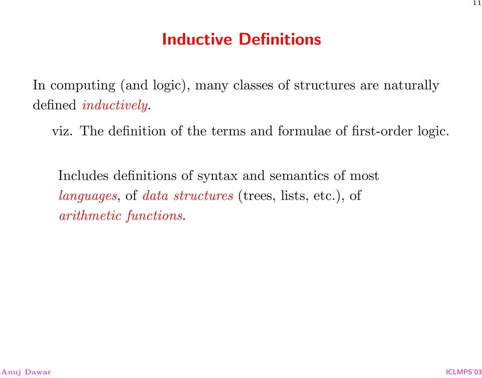 The definition of the terms and formulae of first-order logic.