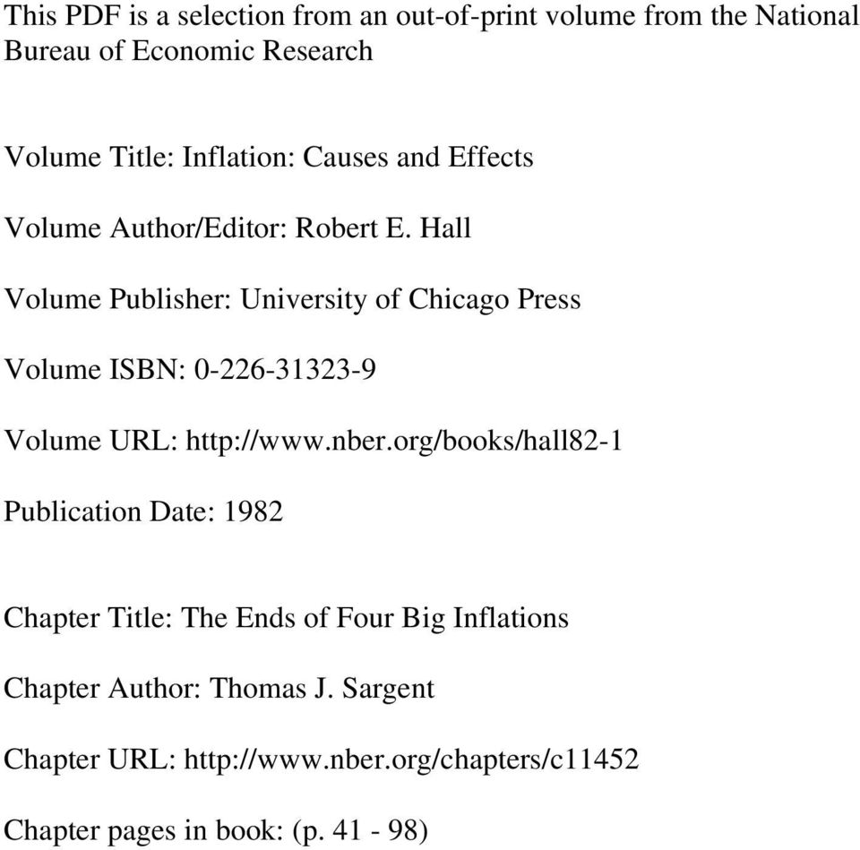 Hall Volume Publisher: University of Chicago Press Volume ISBN: 0-226-31323-9 Volume URL: http://www.nber.