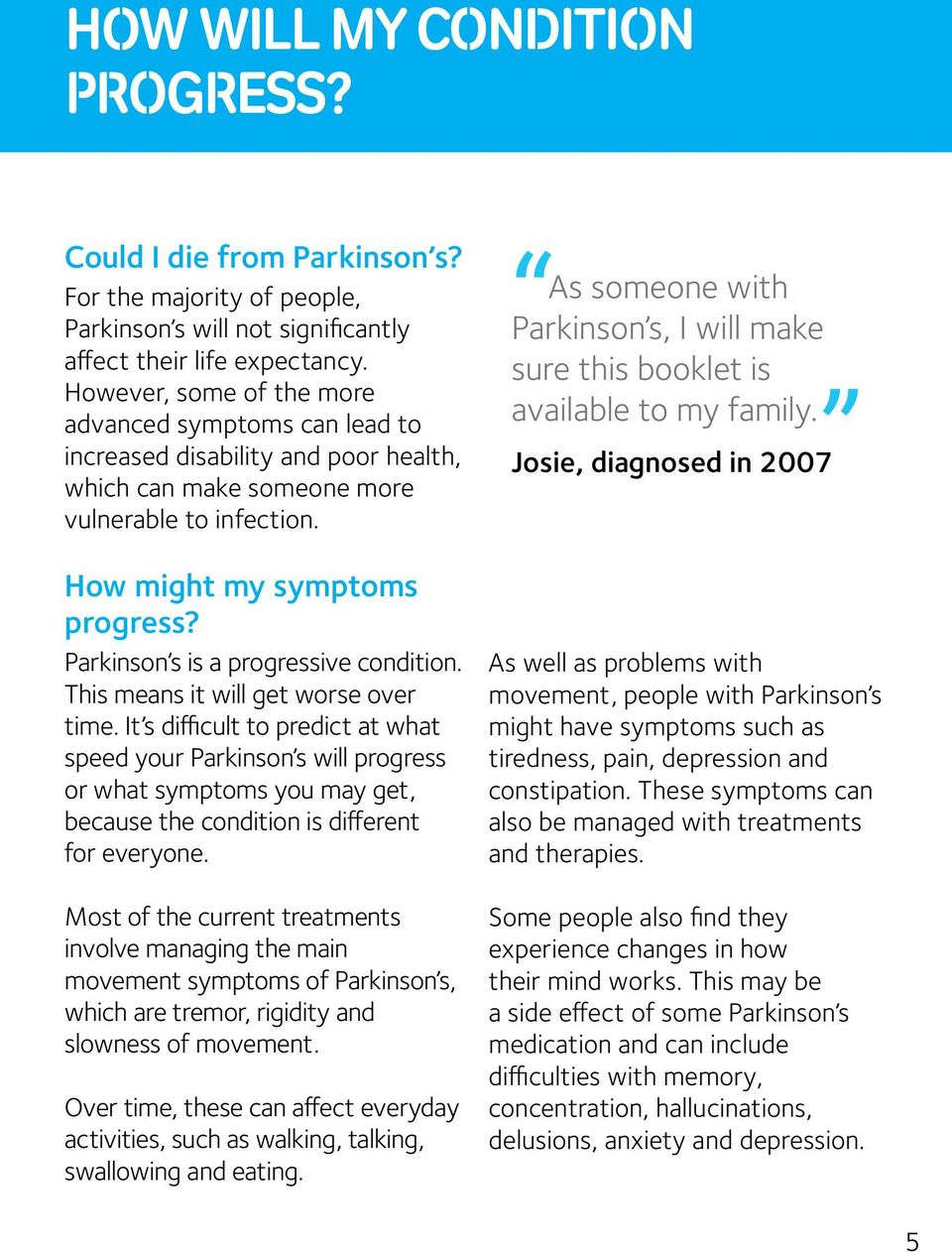 Parkinson s is a progressive condition. This means it will get worse over time.