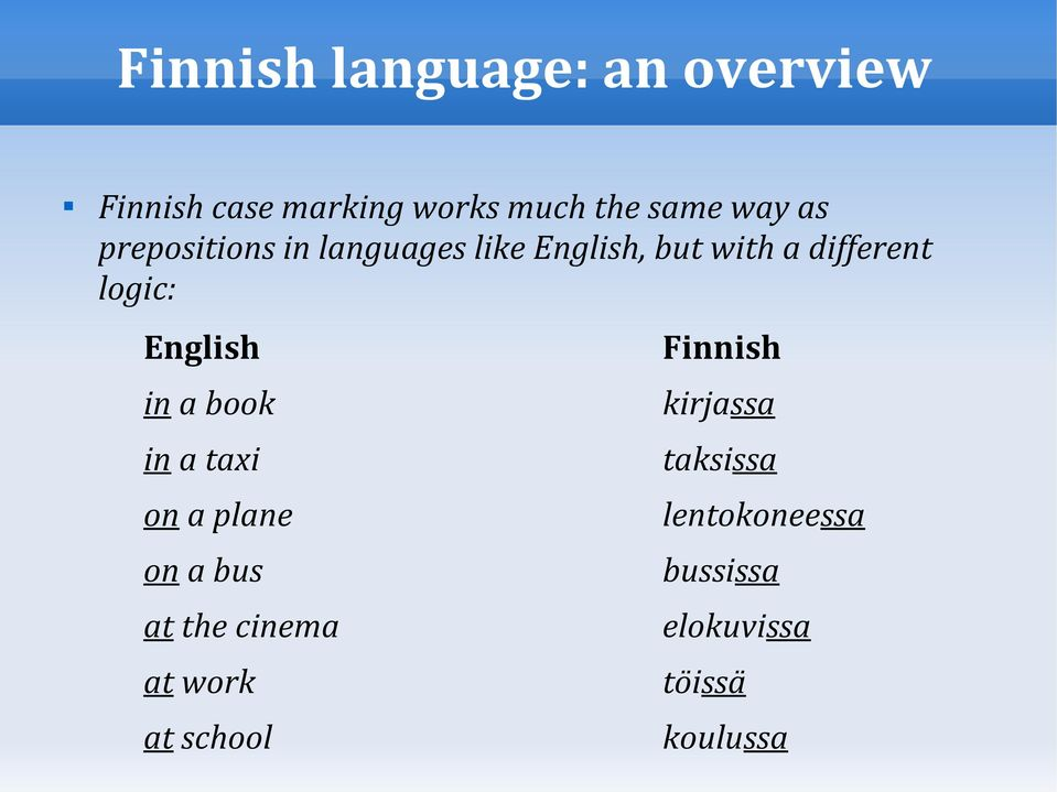 English Finnish in a book kirjassa in a taxi taksissa on a plane