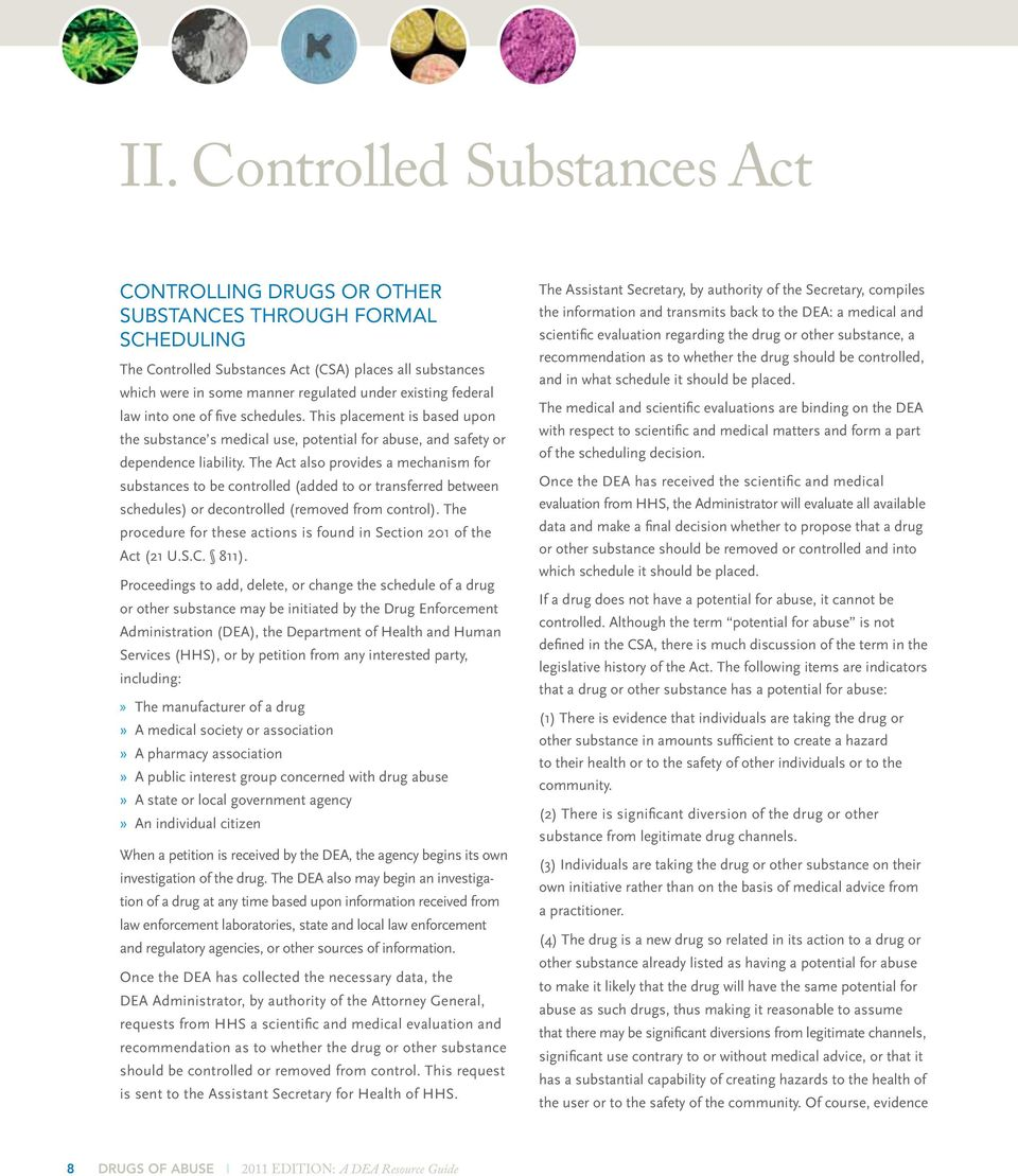 The Act also provides a mechanism for substances to be controlled (added to or transferred between schedules) or decontrolled (removed from control).