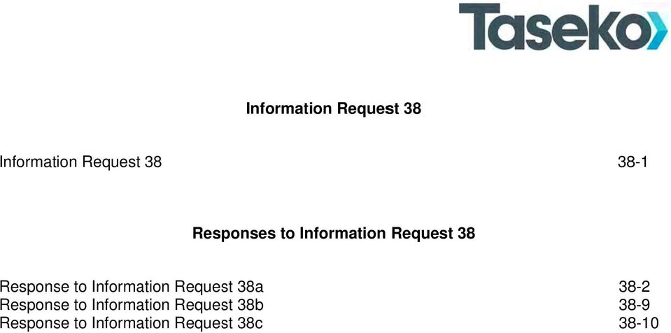 Response to Information Request 38b