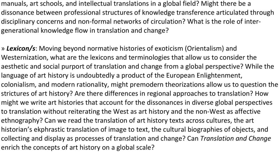 What is the role of inter- generational knowledge flow in translation and change?