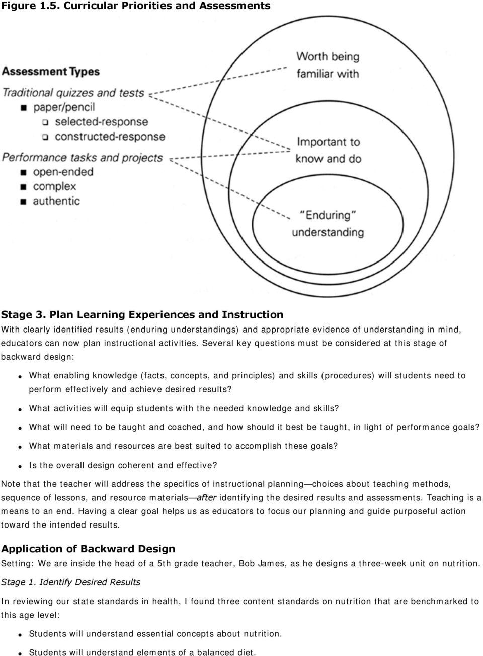 Several key questions must be considered at this stage of backward design: What enabling knowledge (facts, concepts, and principles) and skills (procedures) will students need to perform effectively