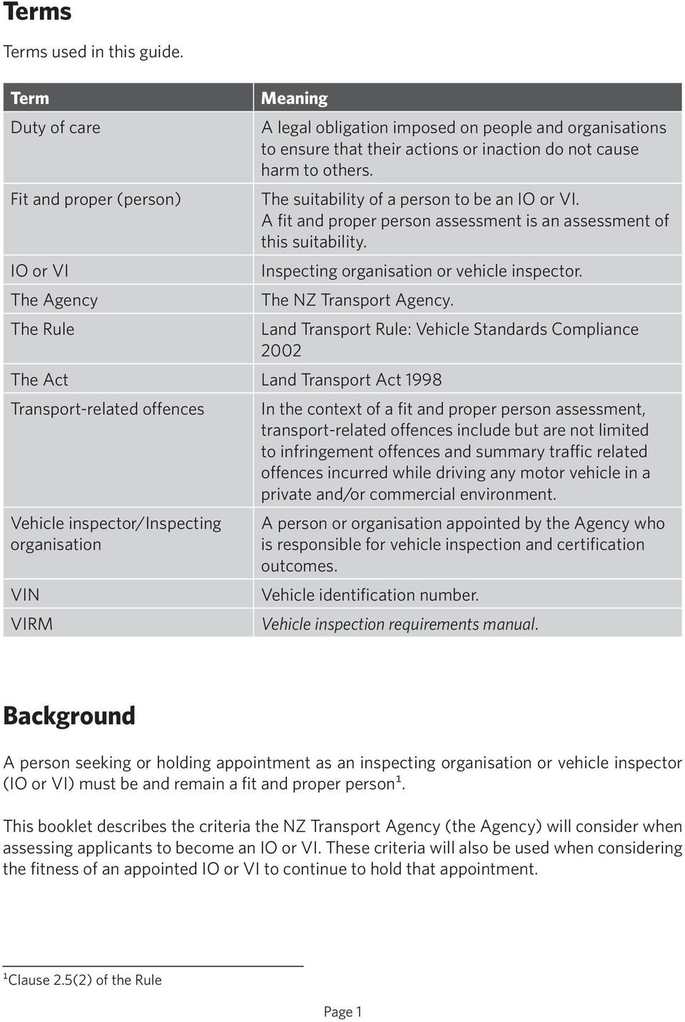 others. The suitability of a person to be an IO or VI. A fit and proper person assessment is an assessment of this suitability. Inspecting organisation or vehicle inspector. The NZ Transport Agency.