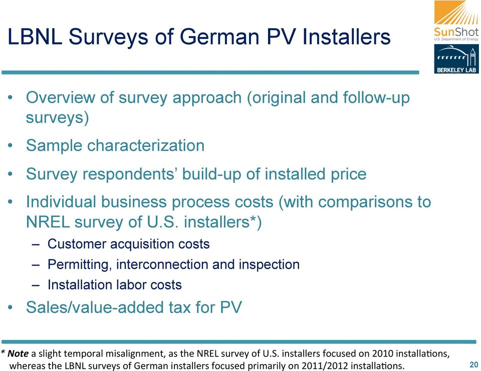 installers*) Customer acquisition costs Permitting, interconnection and inspection Installation labor costs Sales/value-added tax for PV * Note a