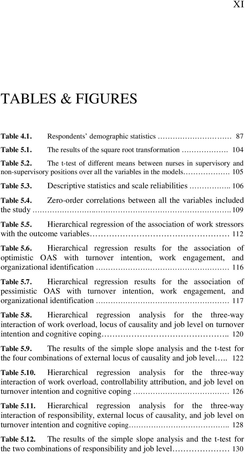 . 106 Table 5.4. Zero-order correlations between all the variables included the study... 109 Table 5.5. Hierarchical regression of the association of work stressors with the outcome variables 112 Table 5.