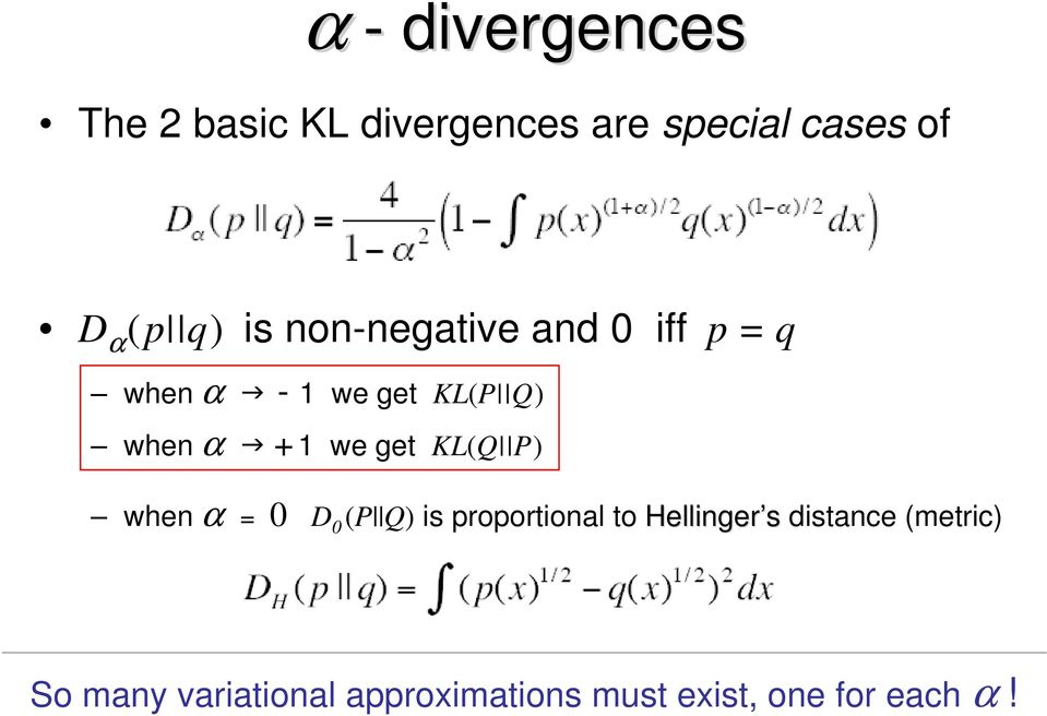 we get KL(Q P) when α = 0 D 0 (P Q) is proportional to Hellinger s