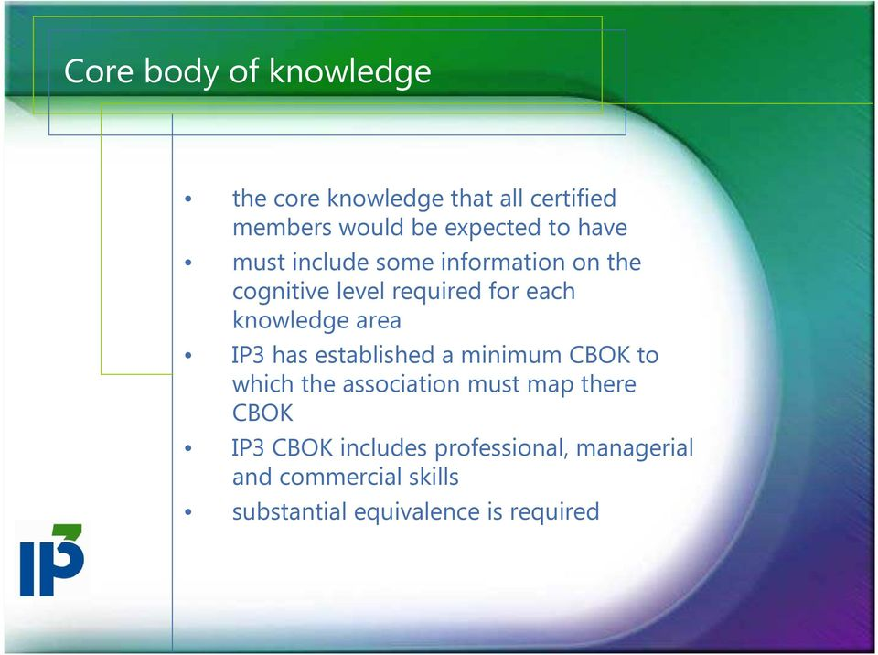 IP3 has established a minimum CBOK to which the association must map there CBOK IP3 CBOK