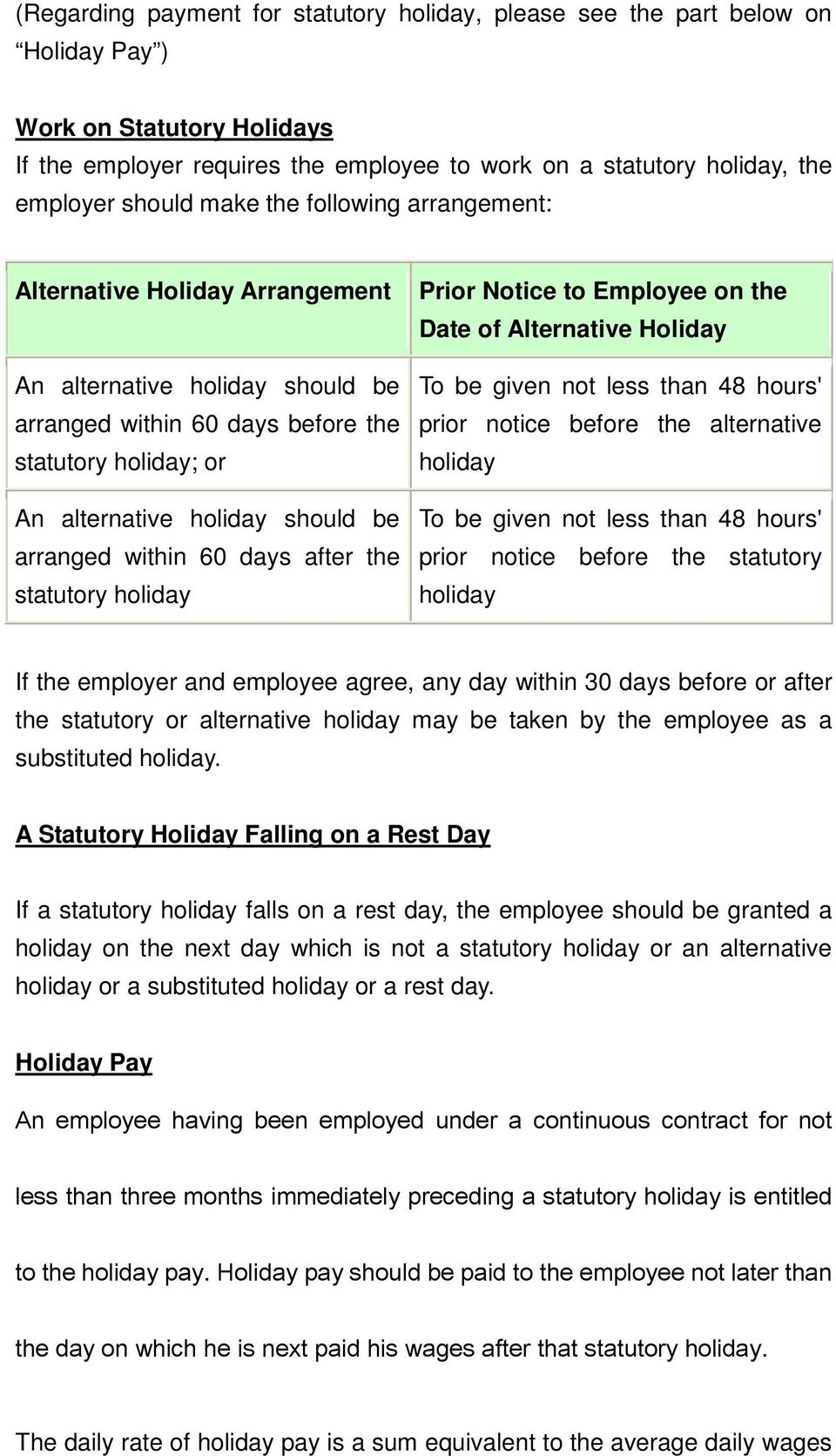 arranged within 60 days after the statutory holiday Prior Notice to Employee on the Date of Alternative Holiday To be given not less than 48 hours' prior notice before the alternative holiday To be