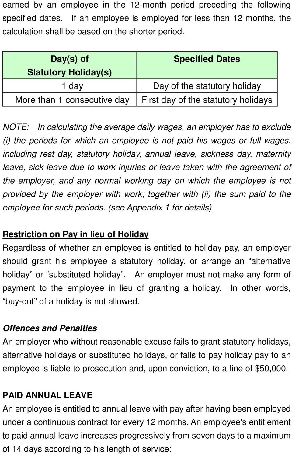 employer has to exclude (i) the periods for which an employee is not paid his wages or full wages, including rest day, statutory holiday, annual leave, sickness day, maternity leave, sick leave due
