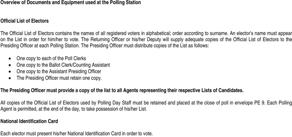 The Returning Officer or his/her Deputy will supply adequate copies of the Official List of Electors to the Presiding Officer at each Polling Station.