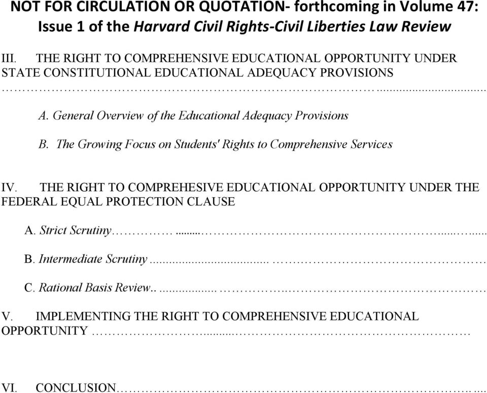 The Growing Focus on Students' Rights to Comprehensive Services IV.