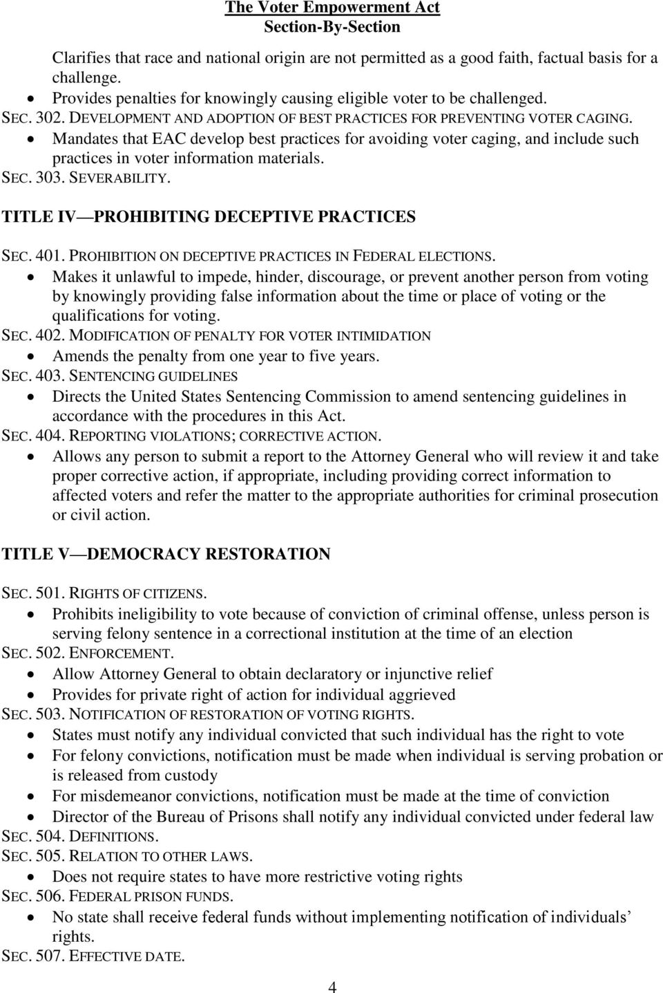 Mandates that EAC develop best practices for avoiding voter caging, and include such practices in voter information materials. SEC. 303. SEVERABILITY. TITLE IV PROHIBITING DECEPTIVE PRACTICES SEC.