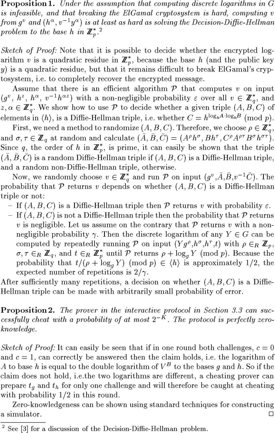 Decision-Die-Hellman problem to the base h in Z p.